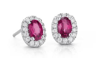 Oval Ruby and Pavé Diamond Earrings in 14k White Gold