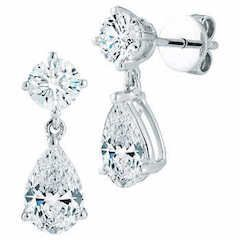 Pear and Round Shape 2.00 ctw VS2 Color Diamond 18kt White Gold Drop Earrings