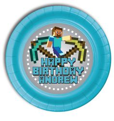 """12 MineCraft Personalized Party Plates 7"""" Meal Size"""