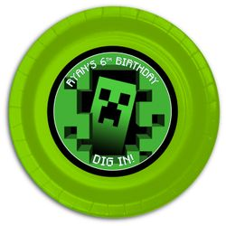 """12 MineCraft Personalized Party Plates 9"""" Meal Size"""