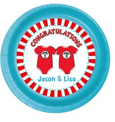 """12 Twin 1 Twin 2 Dr. Seuss Onesies Personalized Twin Baby Shower Plates 7"""" Cake & Snack Size"""