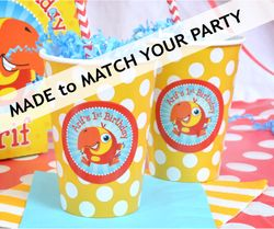 24 MADE-TO-MATCH<br>Yellow & White Polka Dots Personalized Party Cups Qty.24