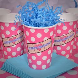 24 Pink & White Polka Dots Doc McStuffins Personalized Party Cups
