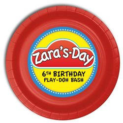 """Play-Doh Personalized Party Plates 9"""" Meal Size"""
