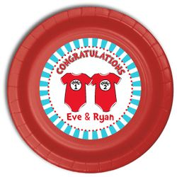"""24 Twin 1 Twin 2 Dr. Seuss Onesies Personalized Twins Baby Shower Plates 9"""" Meal Size"""