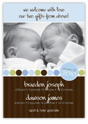 Absolutely Precious Twin Boys Photo Birth Announcement