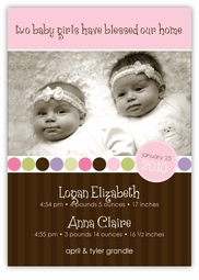 Absolutely Precious Twin Girls Photo Birth Announcement