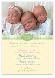 Adorable Dots B&G Photo Triplet Birth Announcement