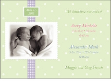 Adorable Dots Girl-Boy Twins Photo Birth Announcement