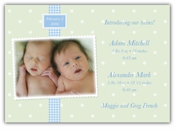 Adorable Dots Twin Boys Photo Birth Announcement
