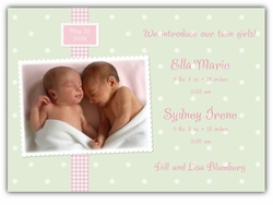 Adorable Dots Twin Girls Photo Birth Announcement
