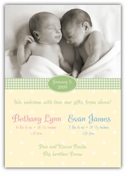 Adorable Dots Vertical Girl-Boy Twins Photo Birth Announcement