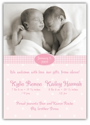 Adorable Dots Vertical Twin Girls Photo Birth Announcement