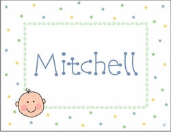 Baby Boy Face Note Cards