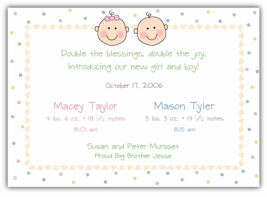 Baby Faces Girl-Boy Twins Birth Announcement