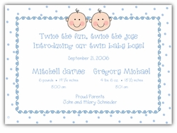 Baby Faces Twin Boys Birth Announcement
