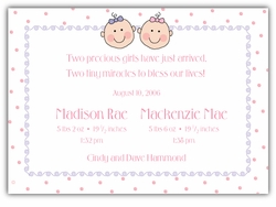 Baby Faces Twin Girls Birth Announcement
