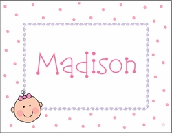 Baby Girl Face Note Cards