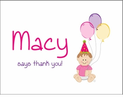 Baby Girl Thank You Note Cards