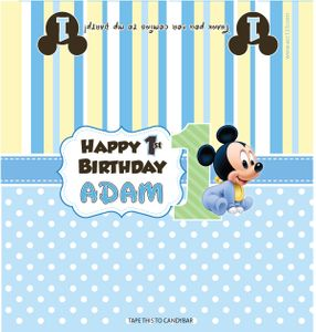 Baby Mickey First Birthday Hershey Bar Wrappers