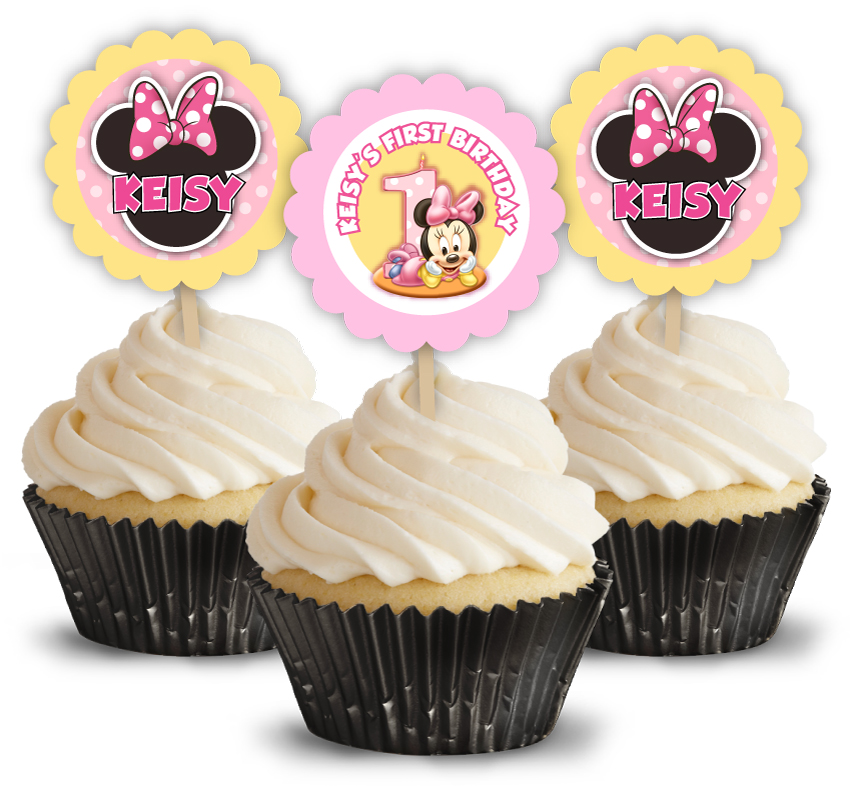 Amazing Baby Minnie Mouse First Birthday Party Cupcake Picks Toppers Funny Birthday Cards Online Necthendildamsfinfo