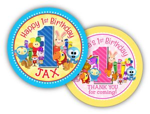 """BabyFirst TV Favorites Party Personalized 3"""" Stickers"""