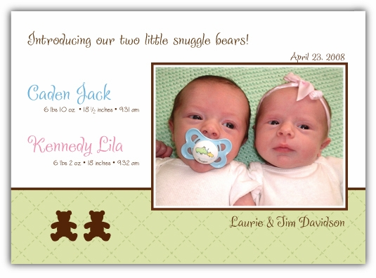 Bears on Quilt Girl-Boy Twins Photo Birth Announcement