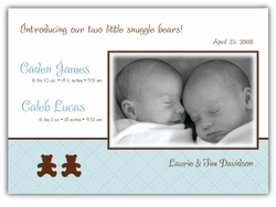 Bears on Quilt Twin Boys Photo Birth Announcement