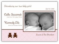 Bears on Quilt Twin Girls Photo Birth Announcement