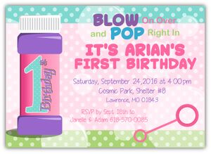 Blow Bubbles 1st Birthday Party Invitation