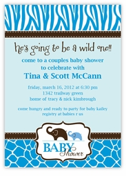 Blue Wild Safari Baby Shower Invitation, matches theme from PartyCity.com