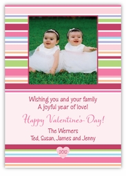Bright Stripes Valentine's Day Photo Card