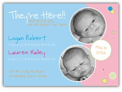 Bubble Bliss Blue/Pink Photo Birth Announcement