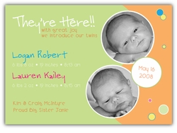 Bubble Bliss Green/Orange Photo Birth Announcement