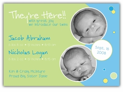 Bubble Bliss Twin Boys Photo Birth Announcement