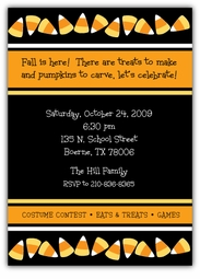 Candy Corn Halloween Party Invitation