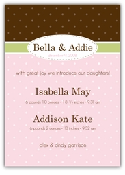 Charming Chocolate Twin Girls Birth Announcement