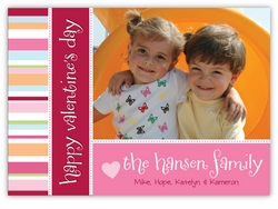 Cheerful Stripes Valentine�s Day Photo Card