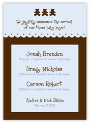 Chocolate Bears Boy Triplet Birth Announcement