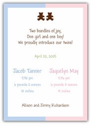 Chocolate Bears Girl-Boy Twins Birth Announcement