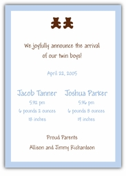 Chocolate Bears Twin Boys Birth Announcement