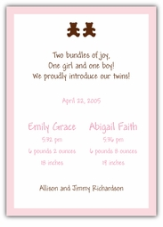 Chocolate Bears Twin Girls Birth Announcement