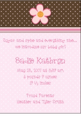 Chocolate Dots Girl Birth Announcement