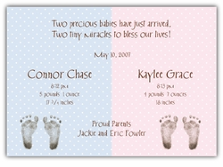 Chocolate Dots Girl-Boy Twin Birth Announcement