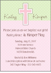 Chocolate Dots Girl Twins Baptism Invitation