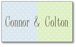 Chocolate Dots Twin Boys Enclosure Card