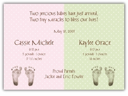 Chocolate Dots Twin Girls Birth Announcement