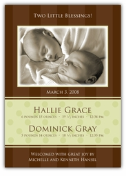 Chocolate Serenity Girl-Boy Twins Photo Birth Announcement