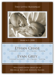 Chocolate Serenity Twin Boys Photo Birth Announcement