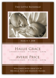 Chocolate Serenity Twin Girls Photo Birth Announcement